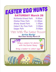 Onslow County: Easter Egg Hunts @ Multiple Park Locations in Onslow County