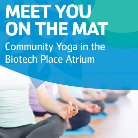 Community Yoga in the Wake Forest Biotech Place Atrium