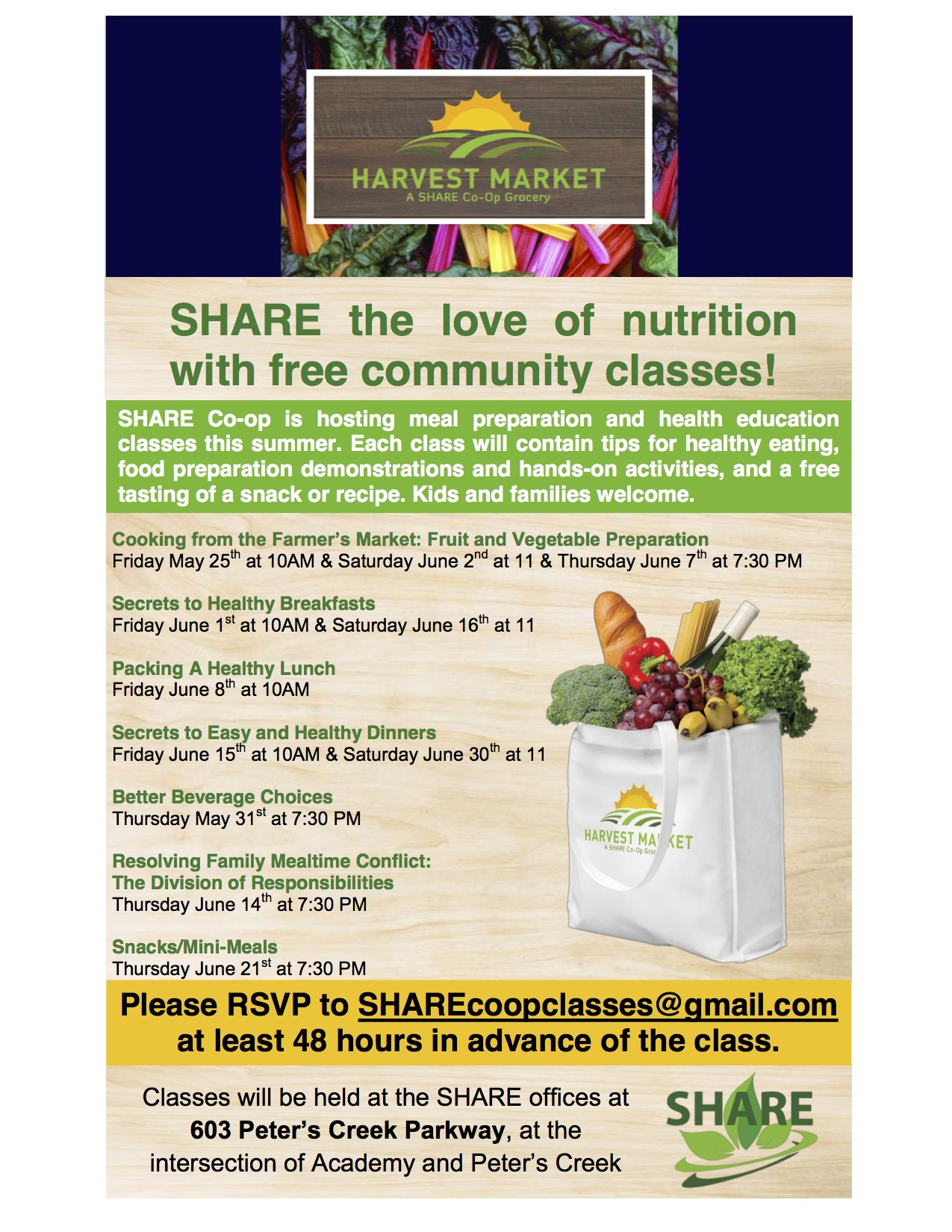 Free community cooking and health education classes