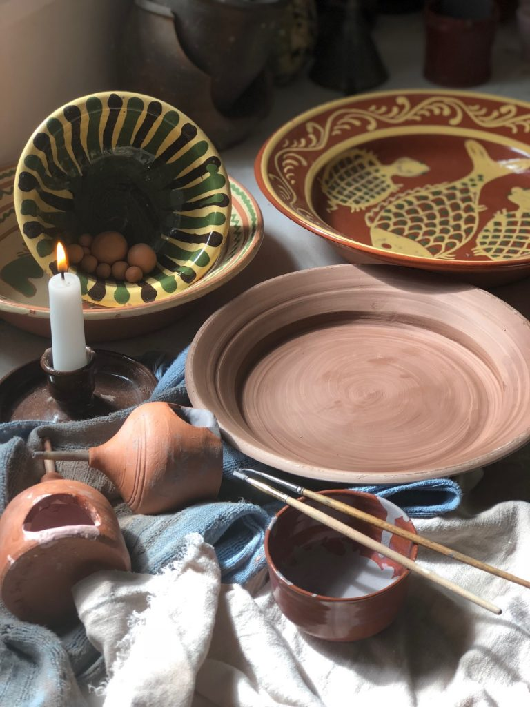 Summer Adventures:  Decorating a Slip Trail Pottery Plate