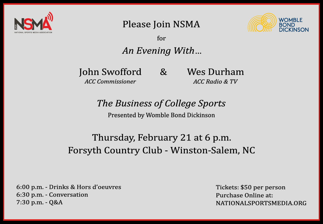 "AN EVENING WITH...JOHN SWOFFORD & WES DURHAM: ""THE BUSINESS OF COLLEGE SPORTS"""