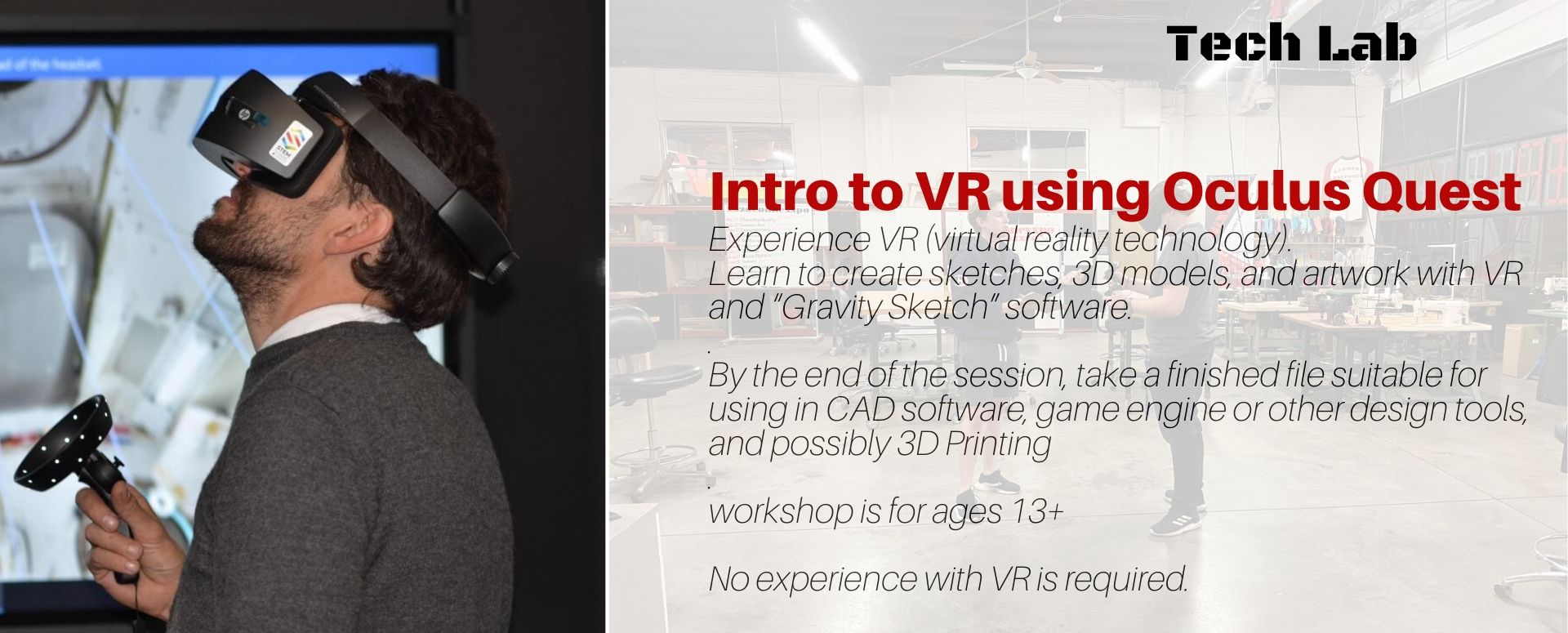 Virtual Reality (with Oculus Headset) Drawing Workshop